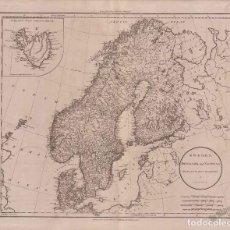 Mapas contemporáneos: MAPA ANTIGUO SIGLO XIX ESCADINAVIA SUECIA DINAMARCA NORUEGA 1801 - RUSSELL. Lote 275805033