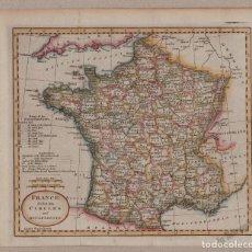 Mapas contemporáneos: MAPA ANTIGUO SIGLO XVIII FRANCIA FRANCE DIVIDED 1808 - JOHN RUSSELL. Lote 275805103
