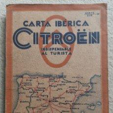 Mapas contemporâneos: CARTA IBÉRICA CITROEN - MAPA INDISPENSABLE AL TURISTA - SOCIEDAD ESPAÑOLA DE AUTOMÓVILES - 83X64CM. Lote 277173103