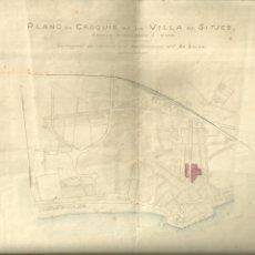 Mapas contemporáneos: 3837.- SITGES-PLANO EN CEOQUIS DE LA VILLA DE SITJES-EN CARMIN LOS TERRENOS DEL SR SOLER. Lote 277178988