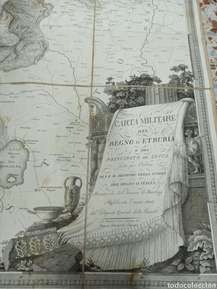 Mapas contemporáneos: CARTA MILITARE DEL REGNO DETRURIA AÑO 1806 POR G. BORDIGA. GRAN MAPA ENTELADO - Foto 2 - 286628748