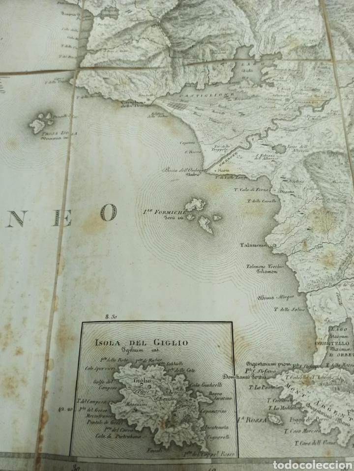 Mapas contemporáneos: CARTA MILITARE DEL REGNO DETRURIA AÑO 1806 POR G. BORDIGA. GRAN MAPA ENTELADO - Foto 4 - 286628748