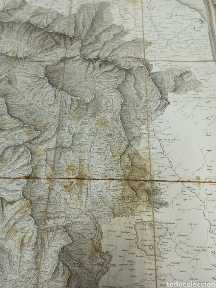Mapas contemporáneos: CARTA MILITARE DEL REGNO DETRURIA AÑO 1806 POR G. BORDIGA. GRAN MAPA ENTELADO - Foto 8 - 286628748