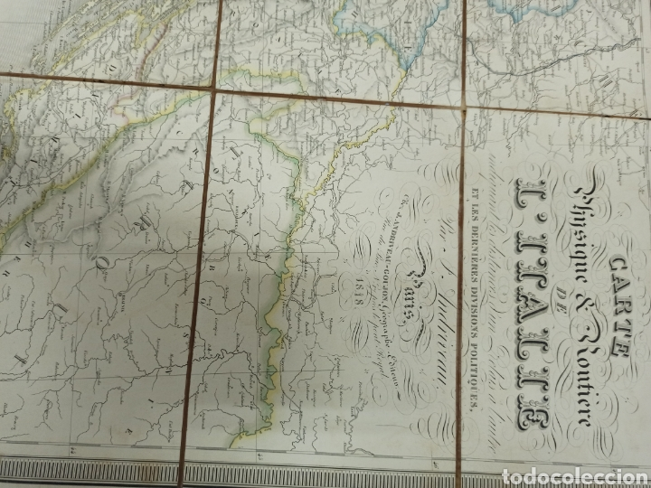 Mapas contemporáneos: J. ANDRIVEAU: CARTE PHYSIQUE & ROUTER DE LITALIE. París, 1848, Andriverau-Goujon límites coloreadod - Foto 2 - 286637328