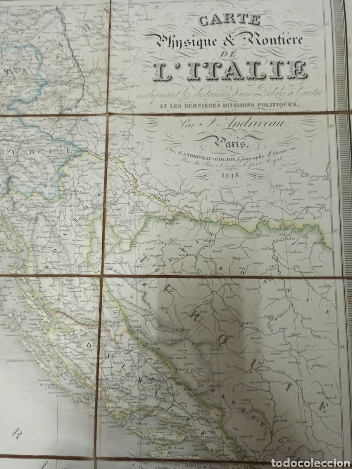 Mapas contemporáneos: J. ANDRIVEAU: CARTE PHYSIQUE & ROUTER DE LITALIE. París, 1848, Andriverau-Goujon límites coloreadod - Foto 3 - 286637328