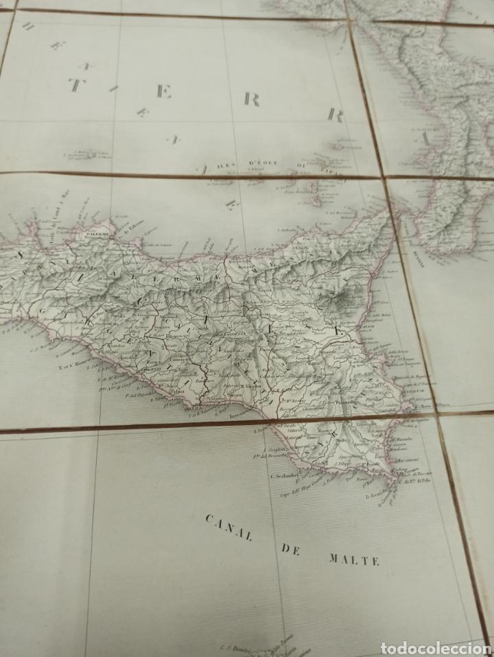 Mapas contemporáneos: J. ANDRIVEAU: CARTE PHYSIQUE & ROUTER DE LITALIE. París, 1848, Andriverau-Goujon límites coloreadod - Foto 5 - 286637328