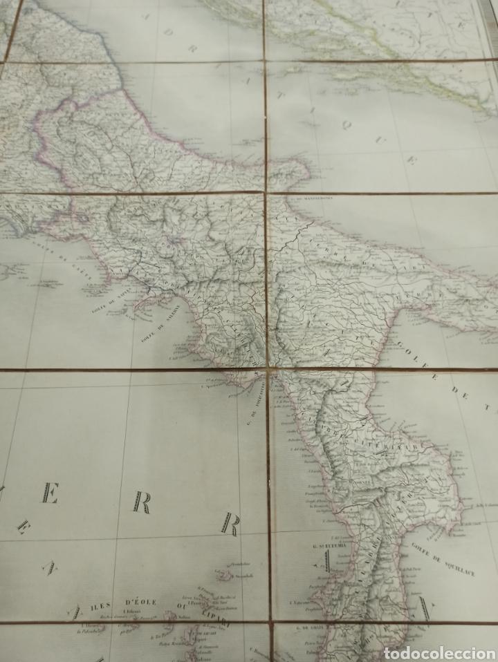 Mapas contemporáneos: J. ANDRIVEAU: CARTE PHYSIQUE & ROUTER DE LITALIE. París, 1848, Andriverau-Goujon límites coloreadod - Foto 6 - 286637328