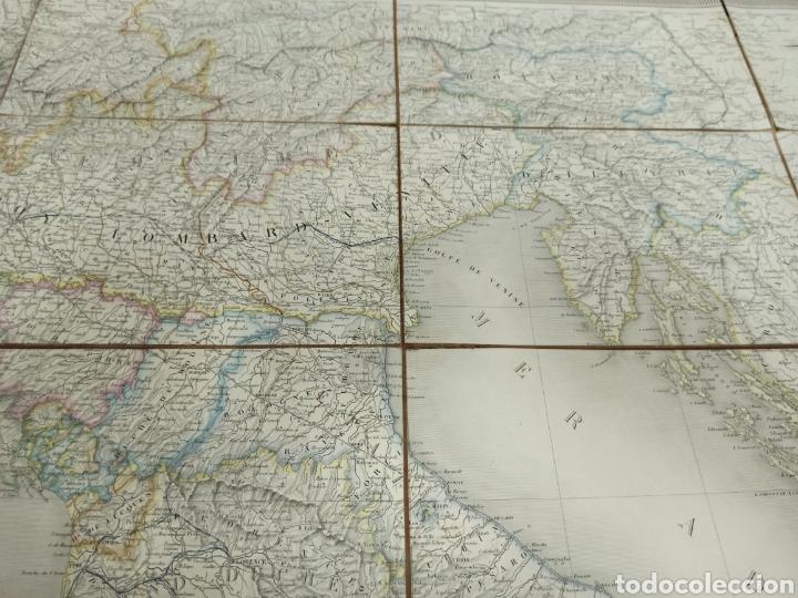 Mapas contemporáneos: J. ANDRIVEAU: CARTE PHYSIQUE & ROUTER DE LITALIE. París, 1848, Andriverau-Goujon límites coloreadod - Foto 8 - 286637328