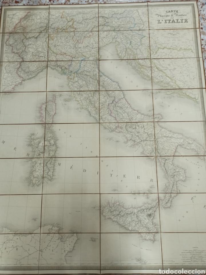 J. ANDRIVEAU: CARTE PHYSIQUE & ROUTER DE L'ITALIE. PARÍS, 1848, ANDRIVERAU-GOUJON LÍMITES COLOREADOD (Coleccionismo - Mapas - Mapas actuales (desde siglo XIX))
