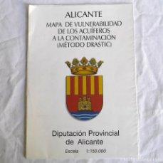 Mapas contemporâneos: MAPA DE ALICANTE VULNERABILIDAD DE LOS ACUÍFEROS A LA CONTAMINACIÓN, 1:150.000, 2003. Lote 292088413