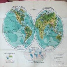 Mapas contemporáneos: MAPAS ESCOLARES MODERNOS - MAPAMUNDI FISICO - SEIX BARRAL - BARCELONA -. Lote 292546528