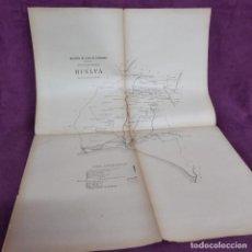 Mapas contemporâneos: ANTIGUO MAPA DEL S. XIX, DE HUELVA, BOLETÍN OFICIAL, NEGOCIADO DE PLANOS DE CORREOS, 66 X 47 CMS.. Lote 293358038