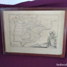 Mapas contemporáneos: CURIOSO MAPA DE LAS CARRERAS DE POSTAS EN ESPAÑA, PEGADO SOBRE MADERA Y ENMARCADO, UNOS 75 X 56 CMS.. Lote 293432428