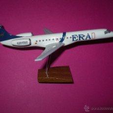 Maquetas: MAQUETA MADERA AVION EMBRAER 145 DE ERA EUROPEAN REGIONS AIRLINES UNICA SERIE FABRICADA. Lote 98693474