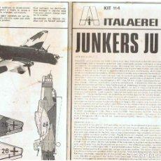 Maquetas: INSTRUCCIONES DE MONTAJE DEL JUNKERS JU-86 DE ITALERI ESCALA 1/72. Lote 103848691