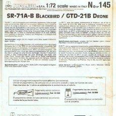 Maquetas: INSTRUCCIONES DE MONTAJE DEL LOCKHEED SR-71 DE ITALERI ESCALA 1/72. Lote 103849275