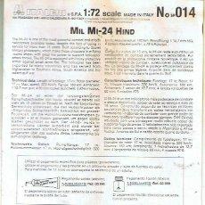 Maquetas: INSTRUCCIONES DE MONTAJE DEL MIL MI-24 DE ITALERI ESCALA 1/72. Lote 103849515