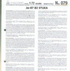 Maquetas: INSTRUCCIONES DE MONTAJE DEL JUNKERS JU-87 B-2 DE ITALERI ESCALA 1/72. Lote 103863115