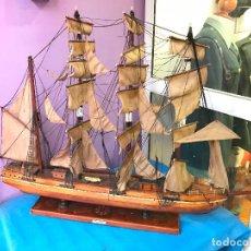 Maquetas: CRUZ DEL SUR 1821 - ENORME BARCO EN MADERA Y TELA CON BASE EN CUERO REPUJADO. Lote 75414963