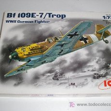 Maquetas: BF 109E-7/ TROP WWII GERMAN FIGHTER - MAQUETA AVION ESCALA 1/72 ICM - NUEVA A ESTRENAR. Lote 26331594