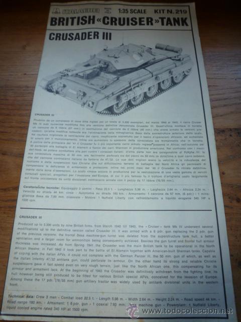 INSTRUCCIONES MONTAJE BRITISH CRUISER TANK, CRUSADER III ITALAEREI (Juguetes - Modelismo y Radiocontrol - Maquetas - Militar)