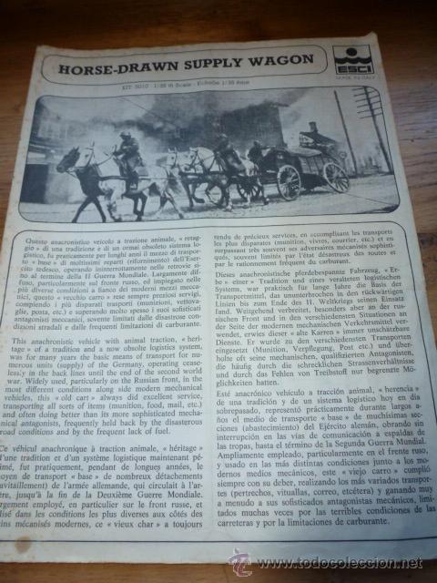 INSTRUCCIONES MONTAJE HORSE DRAWN SUPPLY WAGON ESCI (Juguetes - Modelismo y Radiocontrol - Maquetas - Militar)