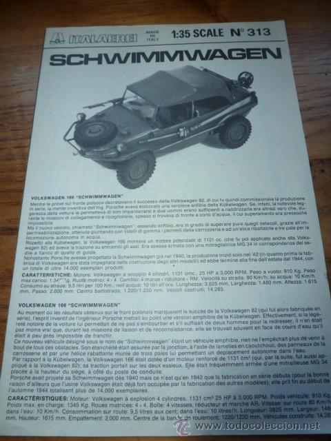 INSTRUCCIONES MONTAJE SCHWIMMWAGEN ITALAEREI (Juguetes - Modelismo y Radiocontrol - Maquetas - Militar)