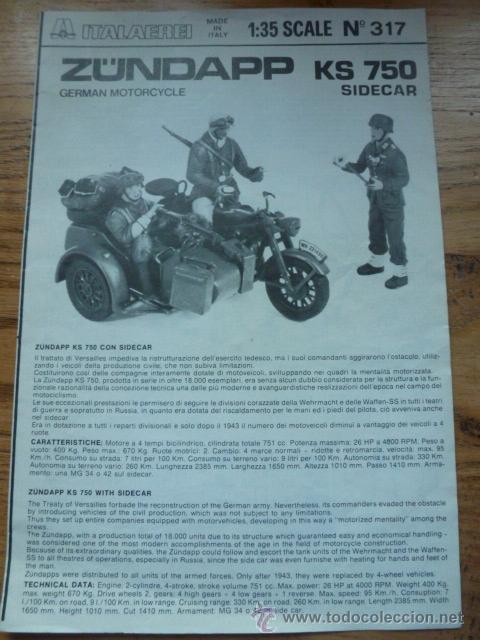 INSTRUCCIONES DE MONTAJE ZUNDAPP KS 750 SIDECAR, ITALAEREI (Juguetes - Modelismo y Radiocontrol - Maquetas - Militar)