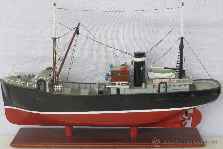 PRECIOSA MAQUETA ANTIGUO BARCO PESQUERO 52X32X10 CMS. (Juguetes - Modelismo y Radiocontrol - Maquetas - Barcos)