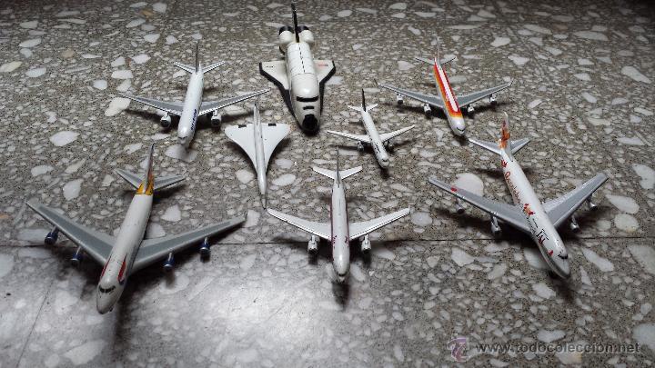 AVIONES METALICOS. 7 DE COMPAÑIAS AEREAS Y TRANSBORDADOR DE LA NASA. (Juguetes - Modelismo y Radio Control - Maquetas - Aviones y Helicópteros)