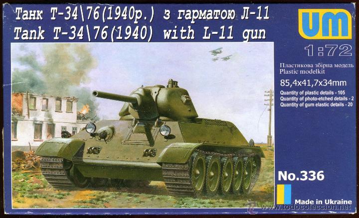 UNIMODEL TANK T-34\76 (1940) WITH L-11 GUN, ESCALA 1/72, REF 336 (Juguetes - Modelismo y Radiocontrol - Maquetas - Militar)