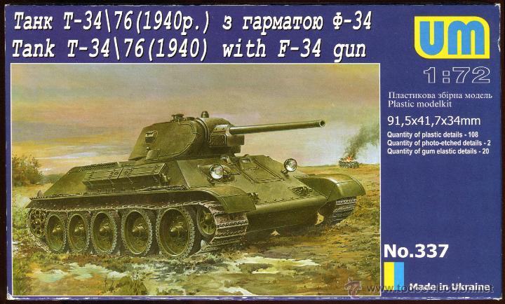 UNIMODEL, TANK T-34\76 (1940) WITH F-34 GUN, ESCALA 1/72, REF 337 (Juguetes - Modelismo y Radiocontrol - Maquetas - Militar)