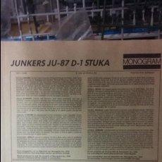 Maquetas: INSTRUCCIONES DE MONTAJE JUNKERS JU-87 D 1. MONOGRAM 1/48. Lote 52390854