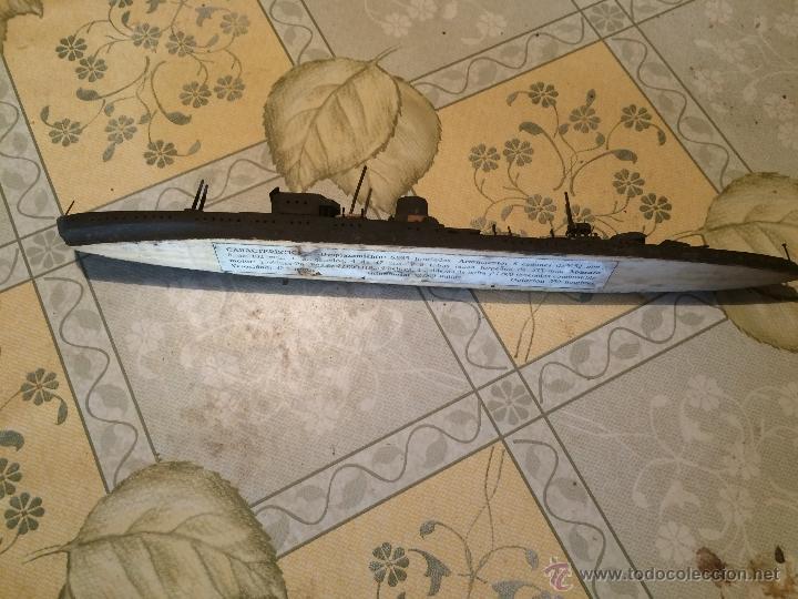Maquetas: Antigua maqueta de submarino o acorazado de madera años 30-40 posiblemente segunda guerra mundial - Foto 3 - 52754798