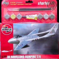 Maquetas: MAQUETA AIRFIX 1/72 DE HAVILLAND VAMPIRE T.11 #A55204 - STARTER SET. Lote 53591921