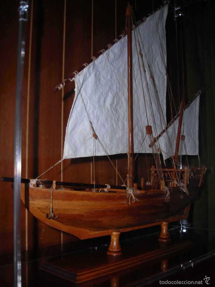 Maquetas: Preciosa maqueta de buque de vela tipo SAMBUCO árabe, (siglo XV). Conservado en urna de metacrilato. - Foto 2 - 55334577
