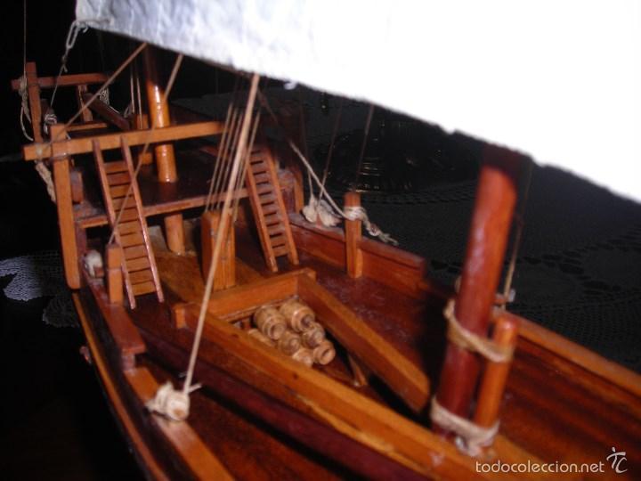 Maquetas: Preciosa maqueta de buque de vela tipo SAMBUCO árabe, (siglo XV). Conservado en urna de metacrilato. - Foto 3 - 55334577