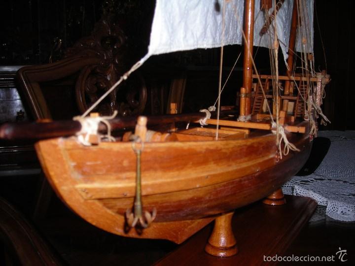 Maquetas: Preciosa maqueta de buque de vela tipo SAMBUCO árabe, (siglo XV). Conservado en urna de metacrilato. - Foto 6 - 55334577