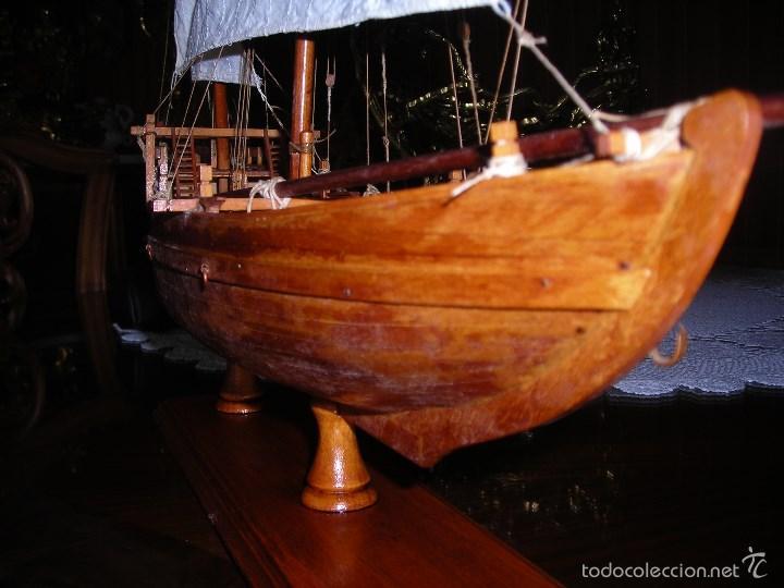 Maquetas: Preciosa maqueta de buque de vela tipo SAMBUCO árabe, (siglo XV). Conservado en urna de metacrilato. - Foto 7 - 55334577