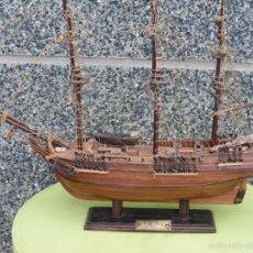 Maquetas: ANTIGUA MAQUETA BARCO H.S.M BOUNTY 1764-TODO FABRICADO ARTESANALMENTE EN MADERA CON MUCHOS DETALLES-. Lote 55860645