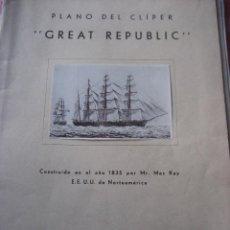 Maquetas: CONSTRUCTO PLANO DEL CLÍPER GREAT REPUBLIC.. Lote 56172572