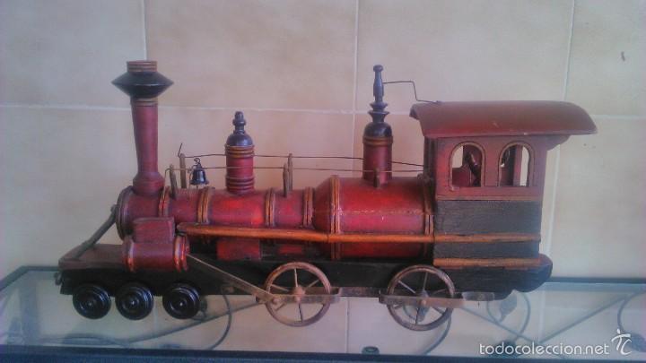 Antigua Maqueta Mano A con De Madera Locomotora Bronce En ruedas hecha Vapor Maquinista 2IH9ED