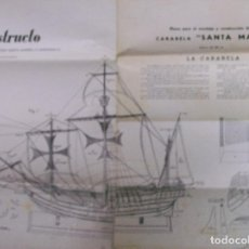 Maquetas: PLANO PARA EL MONTAJE Y CONSTRUCCION DE LA CARABELA SANTA MARIA. CONSTRUCTO. Lote 66463750