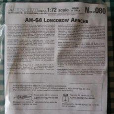 Maquetas: MAQUETA HELICOPTERO ITALERI, NUM 080, ESCALA 1/72, AH-64 LONGBOW APACHE. Lote 67357449