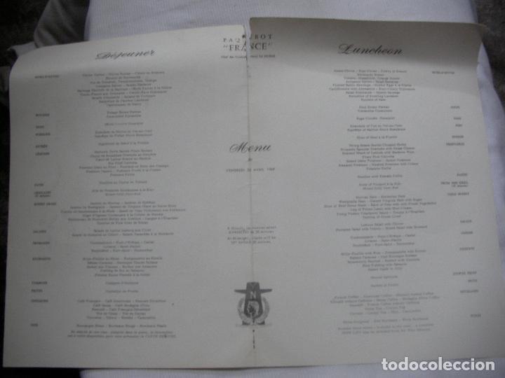 Maquetas: ANTIGUO MENU DEL TRANSATLANTICO FRANCE DE FRENCH LINE 25 ABRIL 1969 - Foto 2 - 70252249