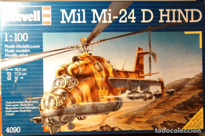 MAQUETA DEL HELICÓPTERO DE COMBATE MIL MI-24 D HIND A ESCALA 1:100 DE REVELL. 1990. MILITAR. 18,5CM. (Juguetes - Modelismo y Radio Control - Maquetas - Aviones y Helicópteros)