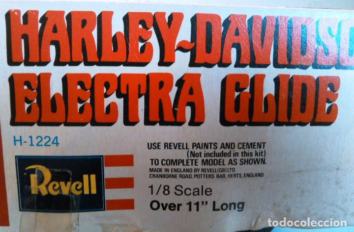 Maquetas: Maqueta antigua de la Motocicleta Harley-Davidson Electra Glide a escala 1:8. Revell, H-1224. 27cm. - Foto 9 - 70569845