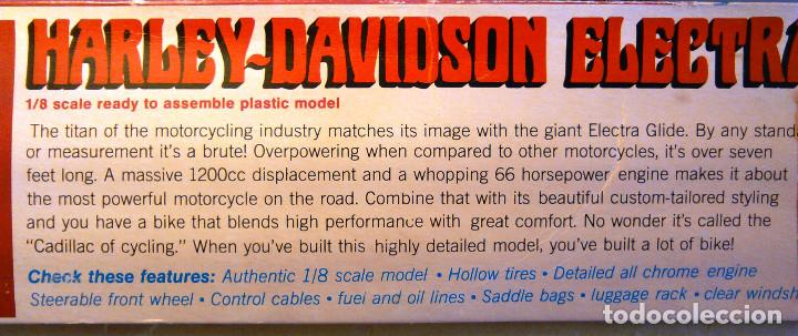 Maquetas: Maqueta antigua de la Motocicleta Harley-Davidson Electra Glide a escala 1:8. Revell, H-1224. 27cm. - Foto 10 - 70569845