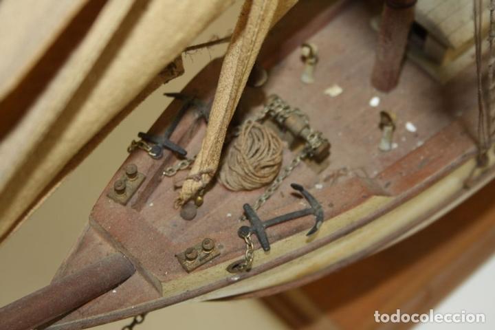 Maquetas: MAQUETA DE BARCO. MADERA TALLADA. VELAS DE TELA. ESPAÑA. CIRCA 1950 - Foto 11 - 72112419