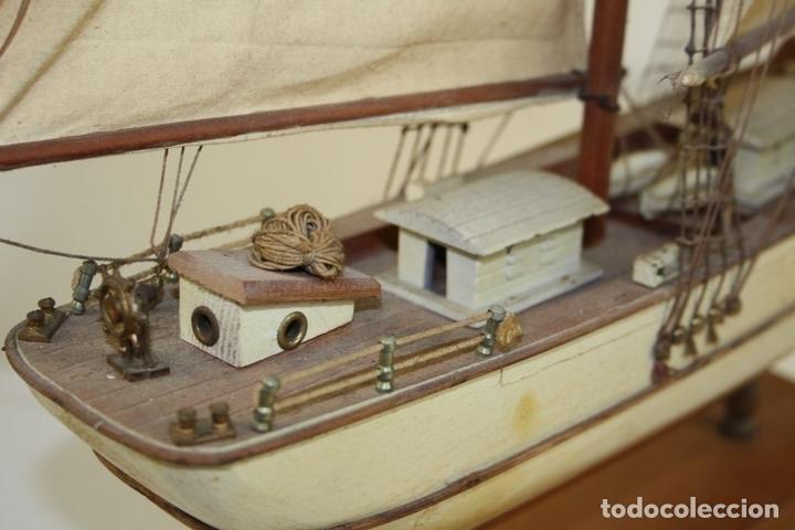 Maquetas: MAQUETA DE BARCO. MADERA TALLADA. VELAS DE TELA. ESPAÑA. CIRCA 1950 - Foto 12 - 72112419